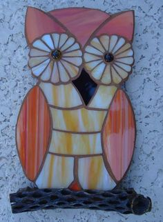 Owl stained glass. I'd probably change the colors around, but the idea is super cute!