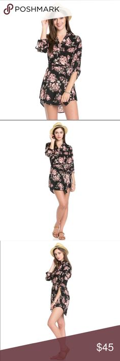 Waist-tie Floral Print Dress Floral print dress with roll up sleeves, split-V-neck tunic dress. Comes with a waist tie. 100% polyester. Limited quantities will be available. Dresses