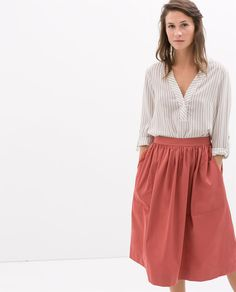 Image 1 of MAO COLLAR STRIPED BLOUSE from Zara