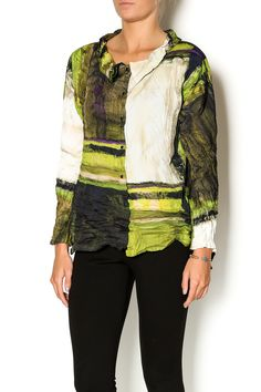 Abstract printed blouse with an asymmetrical hemline and front snap closures. This blouse is machine washable. Style with black pleated trousers and pumps.   Wave Swing Shirt by BABETTE. Clothing - Tops - Blouses & Shirts Clothing - Tops - Long Sleeve Eastern Shore, Baltimore, Maryland
