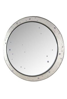 Galileo Round Mirror - Platinum on Sand Panel w/ embedded Swarovski crystals