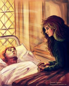 here's one of my favorite moments of the saga . if I think they could be together with a book in advance if only Ron was not so stupid . XD but we. Her-mio-ne Harry Potter Couples, Harry Potter Magic, Harry Potter Ships, Harry Potter Facts, Harry Potter Fan Art, Harry Potter Fandom, Harry Potter Characters, Harry Potter World, Hogwarts