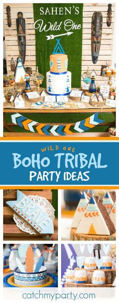 Take a look at this fun Wild One Boho Tribal 1st birthday party. The teepee brownies are so cute!! See more party ideas and share yours at CatchMyParty.com