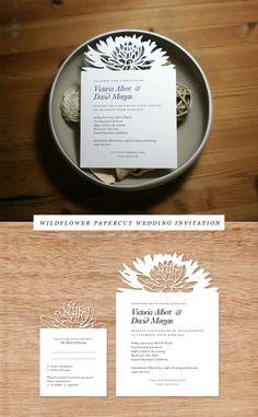 wildflower papercut wedding invitaion by Woodland Papercuts