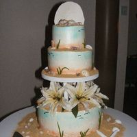 hand painted beach themed 3 tier wedding cake