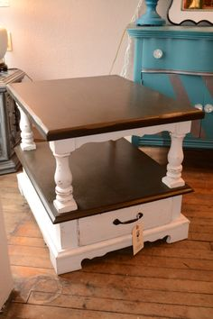 dark brown and white end table