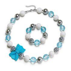 Lake Blue Girl Necklace Beautiful Bow Chunky Bubblegum with Gift Box Vcmart