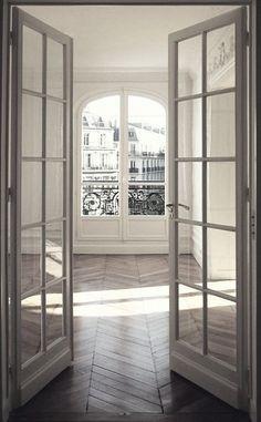 Herringbone wood floors / French doors / whitewashed walls / European flat / apartment / interior design / home Home, Interior Barn Doors, French Doors Interior, Interior, Door Design, Interior Architecture, Apartment Decor, Apartment Interior, Bedroom Wood Floor