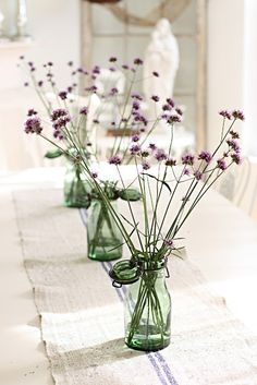 simple idea for wildflowers on the table