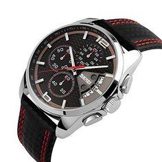 Voeons Mens Analog Sports Watches Black Red Leather Quartz Chronograph Wrist #VOEONS