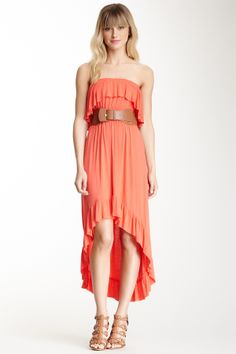 Ruffle Front Belted Hi-Lo Dress