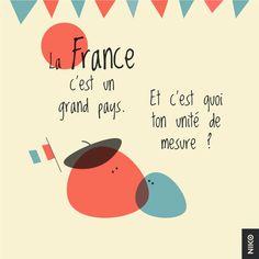 NIKO – Graphic Designer › Bleu blanc rouge : - La France c'est un grand pays. - Et c'est quoi ton unité d mesure ?