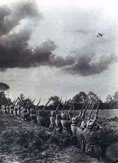WWI; German infantry firing at a French Farman plane.