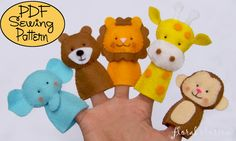 Zoo Friends Set 01 Felt Finger Puppets by FloralBlossom, image 1 Felt Puppets, Felt Finger Puppets, Felt Crafts, Crafts For Kids, Quick Crafts, Finger Puppet Patterns, Deco Kids, Friends Set, Operation Christmas Child