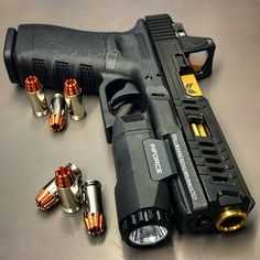 My customized Glock 21 with slide work by , barrel by , RMR by and light by . Custom Glock, Custom Guns, Weapons Guns, Guns And Ammo, Glock Mods, Gun Storage, Shooting Guns, Fire Powers, Cool Guns