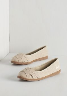 Skip in Your Step Flat in Oatmeal by Blowfish - Flat, Woven, Tan, Solid, Casual, Spring, Good, Variation