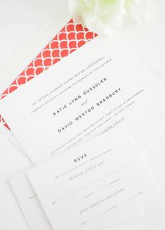 Classic wedding invitation with red accents