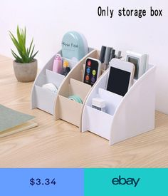 Diy Cardboard Furniture, Cardboard Crafts, Table Storage, Diy Storage, Storage Boxes, Study Room Decor, Diy Room Decor, Desk Organization Diy, Desktop Storage
