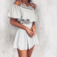 Grey Off The Shoulder Crop + Grey Skirt + White Lace Bodysuit 💕👌 Style Working Girl, White Lace Bodysuit, Outfit Goals, Fashion Outfits, Womens Fashion, Girl Fashion, Look Cool, Dress To Impress, Spring Outfits