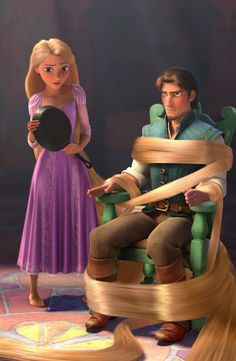 He is sure tangled in her hair get it because the movie is called Tangled