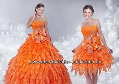 Orangenes Abendkleid Ballkleid Brautkleid Online