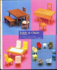Miniature DIY Furniture Doll House Book Doll making Miniature Furniture, Doll Furniture, Dollhouse Furniture, Furniture Making, Diy Dollhouse, Dollhouse Miniatures, Barbie, Picnic Table, Outdoor Furniture Sets