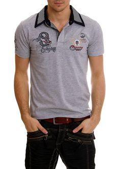 Miesten tuotteet - Paidat - Miesten raitakauluksinen harmaa t-paita - ClothStation