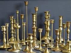 Large Lot Brass Candlesticks Candle Holders by pattispolkadots