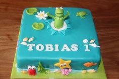 Kindertaarten 2 - Koning Kikker.      Kermit the Frog cake