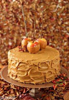 Caramel Apple Cake with outrageous salted caramel frosting! | From SugarHero.com