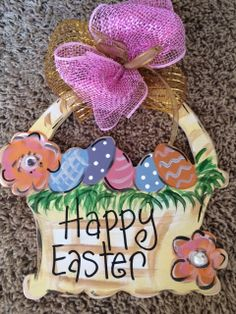 Easter Basket Handpainted Wood Wall Hanging by ChristmasBlessings, $10.00