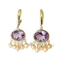 Amethyst Pearl 14k Gold Dangle Earrings Over 8 CARATS