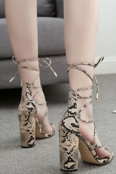 f09fa977ad53 Women Apricot Snakeskin Print Lace Up Chunky Heel Sandals - 6