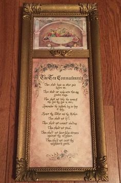 "20"" X 9"" The Ten Commandments Gold Tone Framed Wall Hanging by Home Interiors"