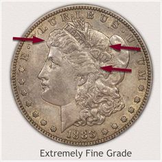 Obverse of a Morgan Silver Dollar in Extremely Fine Grade Showing Points to Judge Condition Silver Dollar Value, Morgan Silver Dollar, Rare Coins Worth Money, Valuable Coins, Bullion Coins, Silver Bullion, Silver Coins Worth, Wheat Penny Value, Old Coins Value
