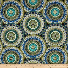 Designed by Veronique Charron for Timeless Treasures, this cotton print fabric features ornate, detailed medallions with a touch of metallic to take it over the top. Perfect for quilting, apparel and home decor accents. Colors include white, brown, metallic gold and shades of blue and green.