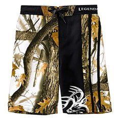 0eba13e409d80 Legendary Whitetails God's Country Camo Youth Lakeside Swim Trunks Black  X-Large Country Outfits,