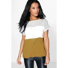 Boohoo Rebecca Colour Block Oversized Tee ($20) ❤ liked on Polyvore featuring tops, t-shirts, multi, white crop tee, white long sleeve t shirt, long sleeve tops, white tee and long sleeve layering tee