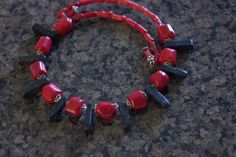 Handmade Beaded Jewelry, Red Coral, Bead Caps, Wearable Art, Jasper, My Etsy Shop, Chokers, Beaded Bracelets, Beads