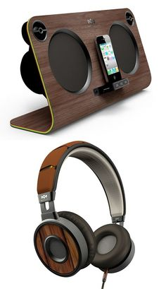 iPhone Docking Station with Stereo + headphones that match. Why not create a listening station that blends together beautifully?