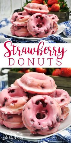 Strawberry Donuts - Absolutely Delicious And Very Easy To Make. How to make homemade donuts. Love this donut recipe! Baked Donut Recipes, Baked Doughnuts, Baking Recipes, Cake Donut Recipe Baked, Easy Recipes, Baked Churros, Mini Doughnuts, Keto Recipes, Delicious Donuts