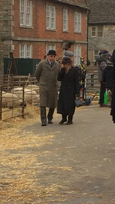 Mr Carson & Mrs Hughes in a market scene for Downton Abbey Series 6