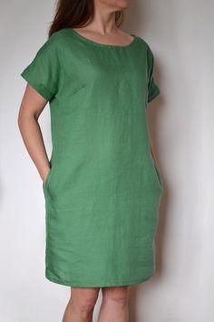 Linen Tunic Dress, Linen Dresses, Womens Linen Clothing, Grunge Dress, Coats For Women, Clothes For Women, Daily Dress, Indian Designer Outfits, One Piece Dress