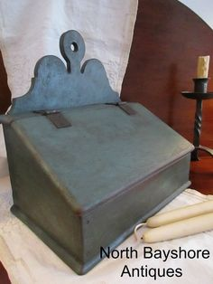 Antique 1800s Early New England Painted Walnut Hanging Slant Lid Candle Box.  Sold  Ebay   475.00.
