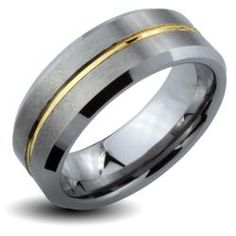 Tungsten Carbide Goldtone Groove Ring (8mm)