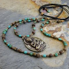 Brass Buddha Necklace With Glass, Turquoise, And Turquoise Beads by GinnyWolfStudio on Etsy