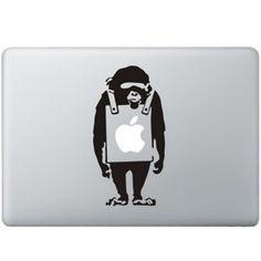 Banksy Verdrietige Aap MacBook Sticker Zwarte Stickers