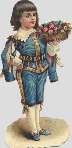 Victorian Scrap — Boy   with Flower Backet (293x600)