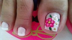Deco                                                                                                                                                                                 Más Flower Nail Designs, Pedicure Designs, Toe Nail Designs, Pedicure Nail Art, Toe Nail Art, Spring Nails, Summer Nails, Finger, Hot Nails