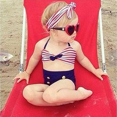 Baby/Infant Girls Kids Tankini Bikini Suit Button Striped Bottoms Beachwear Swimsuit Swimwear Bathing Suit